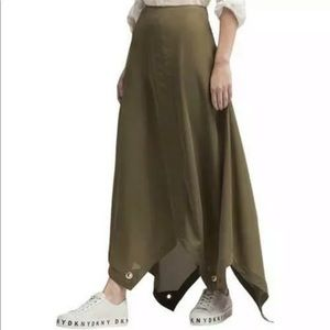 DKNY Skirt Maxi Green Grommet Trim Sz 6